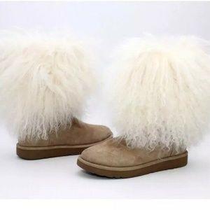 UGG LIDA CURLY MONGOLIAN SHEEPSKIN SUEDE BOOTS